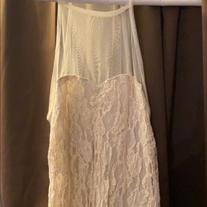 Cream Lace Heart Shaped Top with Mesh